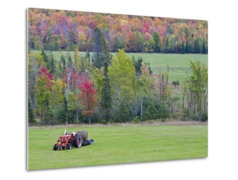 Tractor with Hay Bale, Bruce Crossing, Michigan, USA-Chuck Haney-Metal Print