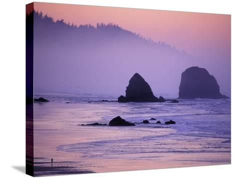 Runner on The Beach, Cannon Beach, Oregon, USA-Gavriel Jecan-Stretched Canvas Print