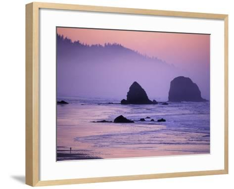 Runner on The Beach, Cannon Beach, Oregon, USA-Gavriel Jecan-Framed Art Print