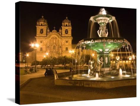 Night Shot of Plaza De Armas, Cusco, Peru-Diane Johnson-Stretched Canvas Print