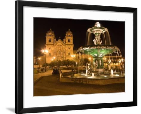 Night Shot of Plaza De Armas, Cusco, Peru-Diane Johnson-Framed Art Print