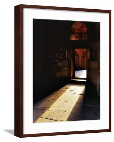 Afternon sunlight through doorway, Tomb of Mohammed Shah, Lodhi Gardens, New Delhi, India-Adam Jones-Framed Art Print