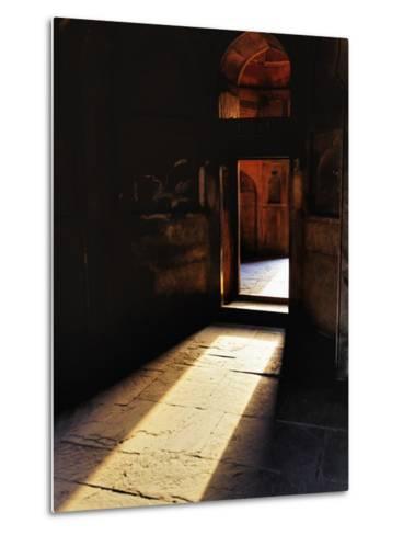 Afternon sunlight through doorway, Tomb of Mohammed Shah, Lodhi Gardens, New Delhi, India-Adam Jones-Metal Print