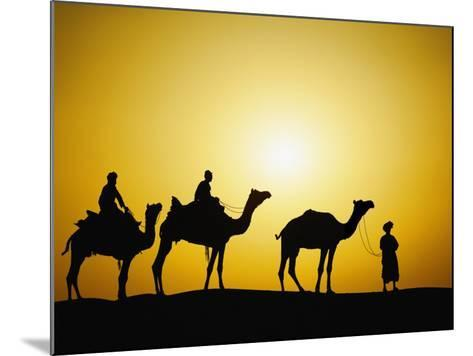 Camels and camel driver silhouetted at sunset, Thar Desert, Jodhpur, India-Adam Jones-Mounted Photographic Print
