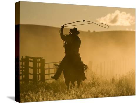 Silhouette of A Wrangler Swinging Lasso, Ponderosa Ranch, Seneca, Oregon, USA-Wendy Kaveney-Stretched Canvas Print