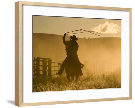 Silhouette of A Wrangler Swinging Lasso, Ponderosa Ranch, Seneca, Oregon, USA-Wendy Kaveney-Framed Art Print