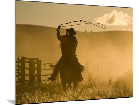 Silhouette of A Wrangler Swinging Lasso, Ponderosa Ranch, Seneca, Oregon, USA-Wendy Kaveney-Mounted Photographic Print
