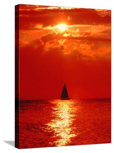 Sailboat at Dawn, Lake Huron, Mackinaw, Michigan, USA-David W. Kelley-Stretched Canvas Print