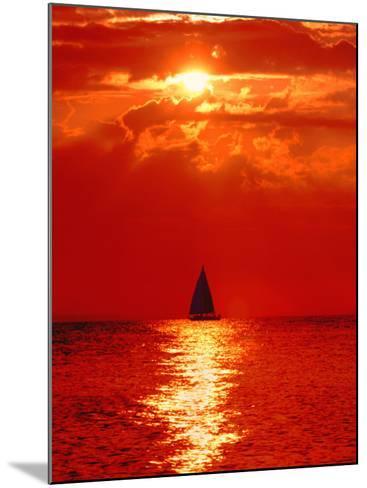 Sailboat at Dawn, Lake Huron, Mackinaw, Michigan, USA-David W. Kelley-Mounted Photographic Print