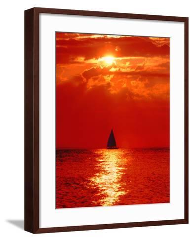 Sailboat at Dawn, Lake Huron, Mackinaw, Michigan, USA-David W. Kelley-Framed Art Print