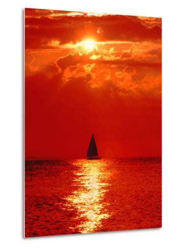 Sailboat at Dawn, Lake Huron, Mackinaw, Michigan, USA-David W. Kelley-Metal Print