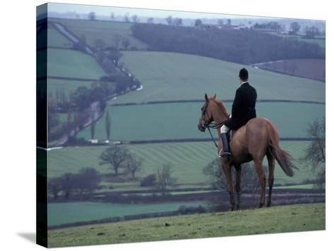 Man on horse, Leicestershire, England-Alan Klehr-Stretched Canvas Print