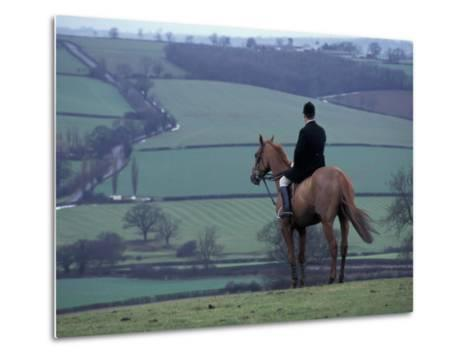 Man on horse, Leicestershire, England-Alan Klehr-Metal Print