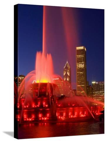 Buckingham Fountain illuminated at night, Chicago, Illinois, USA-Alan Klehr-Stretched Canvas Print