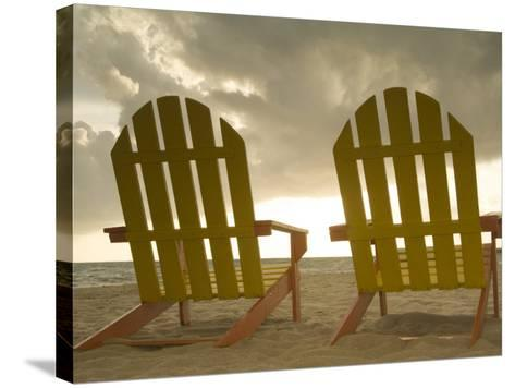 Lounge Chair Facing Caribbean Sea, Placencia, Stann Creek District, Belize-John & Lisa Merrill-Stretched Canvas Print