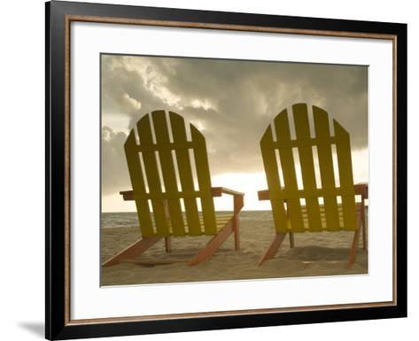 Lounge Chair Facing Caribbean Sea, Placencia, Stann Creek District, Belize-John & Lisa Merrill-Framed Art Print