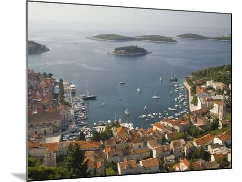 View of town and Adriatic Sea, Hvar Town, Hvar Island, Dalmatia, Croatia-John & Lisa Merrill-Mounted Photographic Print