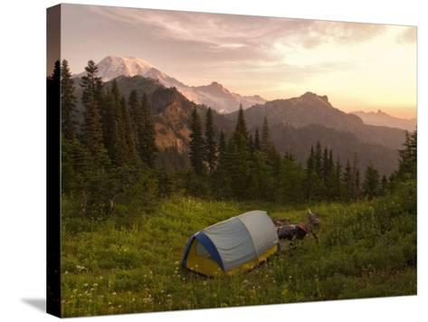 Blue backpacking tent in the Tatoosh Wilderness, Washington State, USA-Janis Miglavs-Stretched Canvas Print