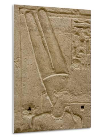 Hieroglyphics detail of Amon, Karnak Temple, East Bank, Luxor, Egypt-Cindy Miller Hopkins-Metal Print