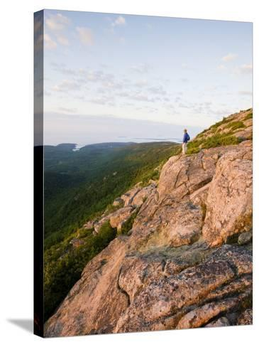 Lone hiker near the summit of Cadillac Mountain, Acadia National Park, Maine, USA-Jerry & Marcy Monkman-Stretched Canvas Print