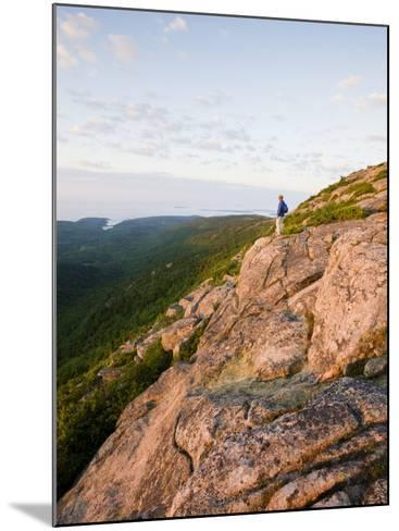 Lone hiker near the summit of Cadillac Mountain, Acadia National Park, Maine, USA-Jerry & Marcy Monkman-Mounted Photographic Print