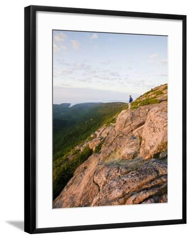 Lone hiker near the summit of Cadillac Mountain, Acadia National Park, Maine, USA-Jerry & Marcy Monkman-Framed Art Print