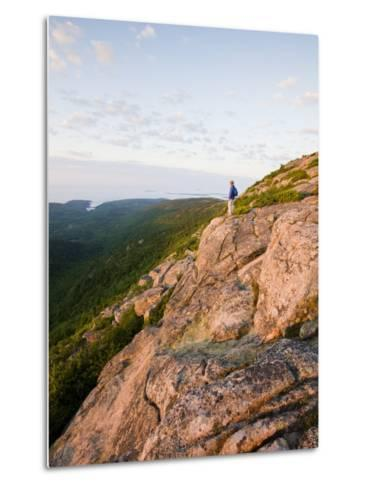 Lone hiker near the summit of Cadillac Mountain, Acadia National Park, Maine, USA-Jerry & Marcy Monkman-Metal Print