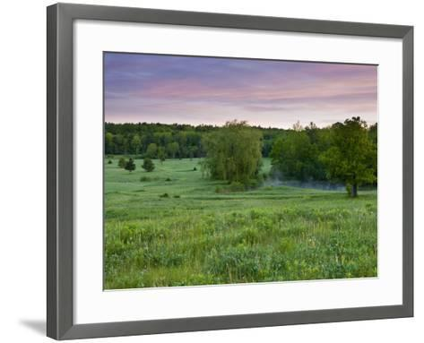 Early morning in a field at Highland Farm in York, Maine, USA-Jerry & Marcy Monkman-Framed Art Print