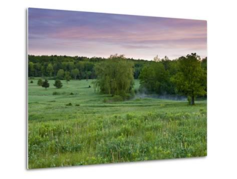 Early morning in a field at Highland Farm in York, Maine, USA-Jerry & Marcy Monkman-Metal Print