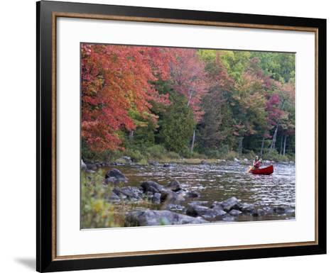 A Man Paddles His Canoe, Seboeis Lake, Millinocket, Maine, USA-Jerry & Marcy Monkman-Framed Art Print