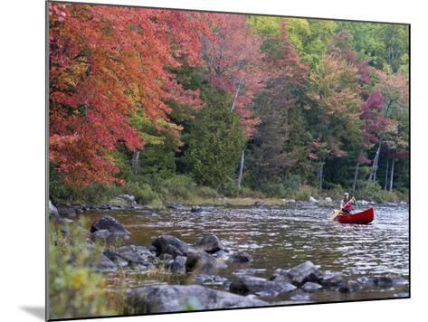 A Man Paddles His Canoe, Seboeis Lake, Millinocket, Maine, USA-Jerry & Marcy Monkman-Mounted Photographic Print