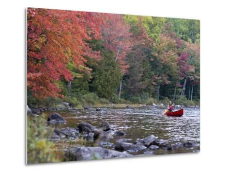 A Man Paddles His Canoe, Seboeis Lake, Millinocket, Maine, USA-Jerry & Marcy Monkman-Metal Print