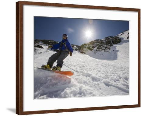 Snowboarder in Tuckerman Ravine, White Mountains National Forest, New Hampshire, USA-Jerry & Marcy Monkman-Framed Art Print