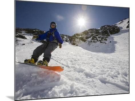 Snowboarder in Tuckerman Ravine, White Mountains National Forest, New Hampshire, USA-Jerry & Marcy Monkman-Mounted Photographic Print