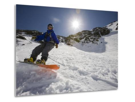 Snowboarder in Tuckerman Ravine, White Mountains National Forest, New Hampshire, USA-Jerry & Marcy Monkman-Metal Print