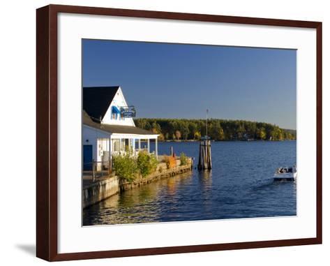 Wolfeboro Dockside Grille on Lake Winnipesauke, Wolfeboro, New Hampshire, USA-Jerry & Marcy Monkman-Framed Art Print