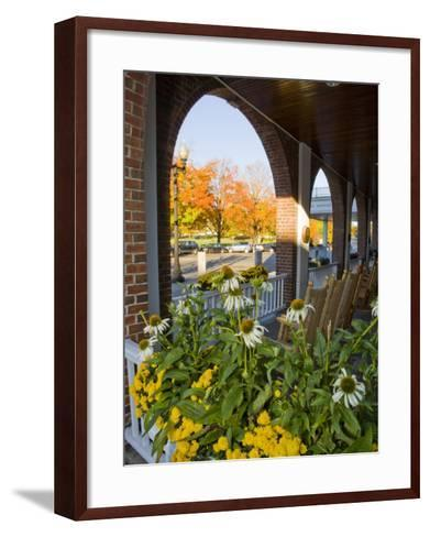 Front Porch of the Hanover Inn, Dartmouth College Green, Hanover, New Hampshire, USA-Jerry & Marcy Monkman-Framed Art Print