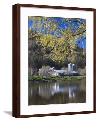 A farm on the Connecticut River in Maidstone, Vermont, USA-Jerry & Marcy Monkman-Framed Art Print