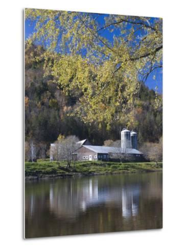 A farm on the Connecticut River in Maidstone, Vermont, USA-Jerry & Marcy Monkman-Metal Print