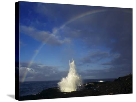 Spouting Horn with Rainbow, Po'Ipu, Kauai, Hawaii, USA-Rolf Nussbaumer-Stretched Canvas Print