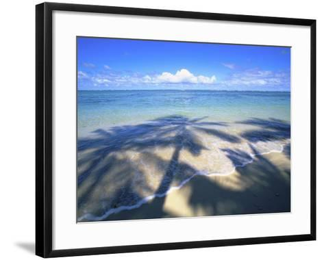 Beach with palm shadow-Douglas Peebles-Framed Art Print