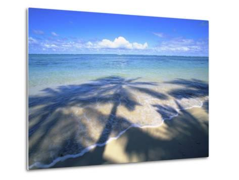 Beach with palm shadow-Douglas Peebles-Metal Print