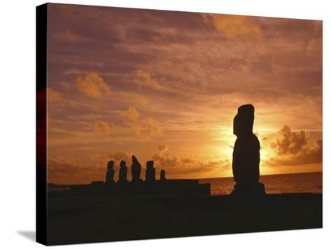 Sunset, Tahai Archeological site, Easter Island, Chile-Douglas Peebles-Stretched Canvas Print