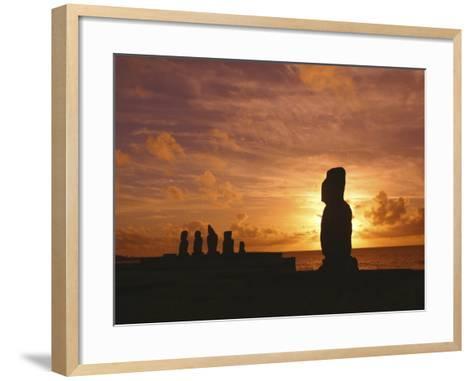 Sunset, Tahai Archeological site, Easter Island, Chile-Douglas Peebles-Framed Art Print