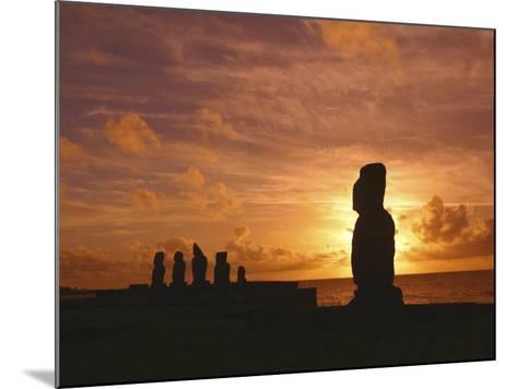Sunset, Tahai Archeological site, Easter Island, Chile-Douglas Peebles-Mounted Photographic Print