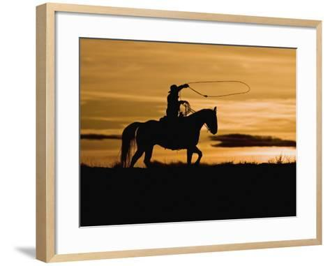 Cowboy on Horses on Hideout Ranch, Shell, Wyoming, USA-Joe Restuccia III-Framed Art Print