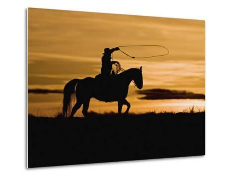 Cowboy on Horses on Hideout Ranch, Shell, Wyoming, USA-Joe Restuccia III-Metal Print