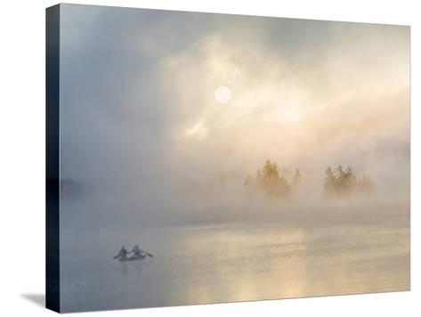 Two Canoers Paddling, Cranberry Lake, Adirondack State Park, New York, USA-Charles Sleicher-Stretched Canvas Print