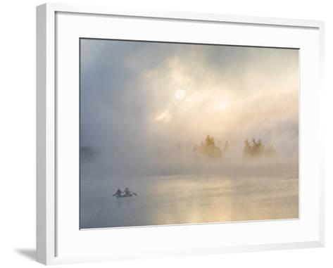 Two Canoers Paddling, Cranberry Lake, Adirondack State Park, New York, USA-Charles Sleicher-Framed Art Print