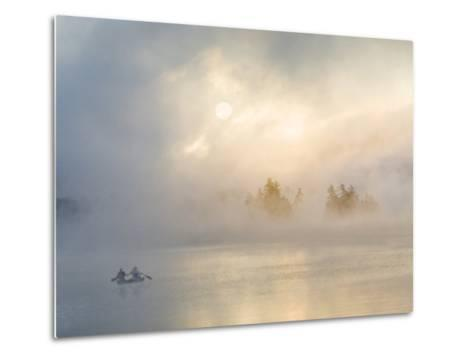 Two Canoers Paddling, Cranberry Lake, Adirondack State Park, New York, USA-Charles Sleicher-Metal Print